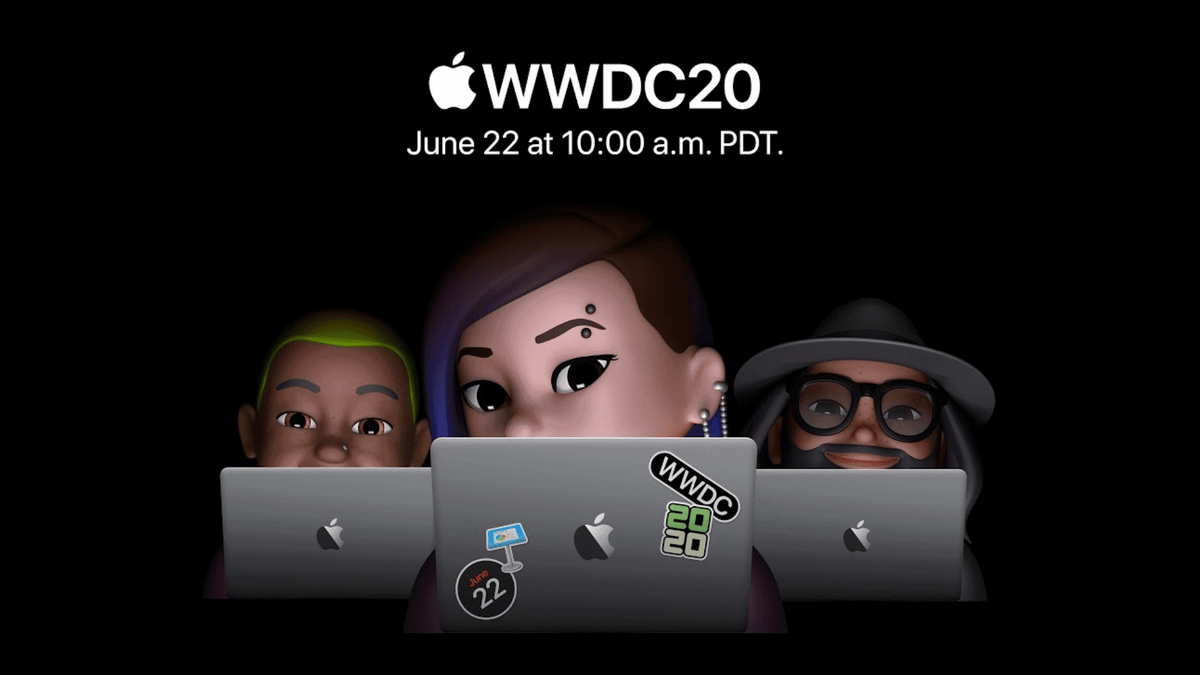 Apple Memoji peeking over laptops that are covered with WWDC 2020 stickers