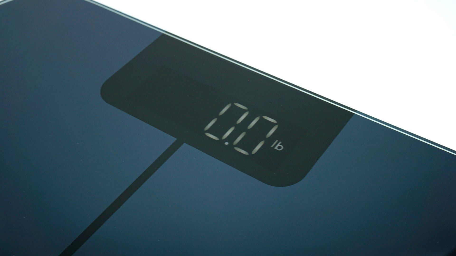 A closeup of the digital display on the Wyze Scale