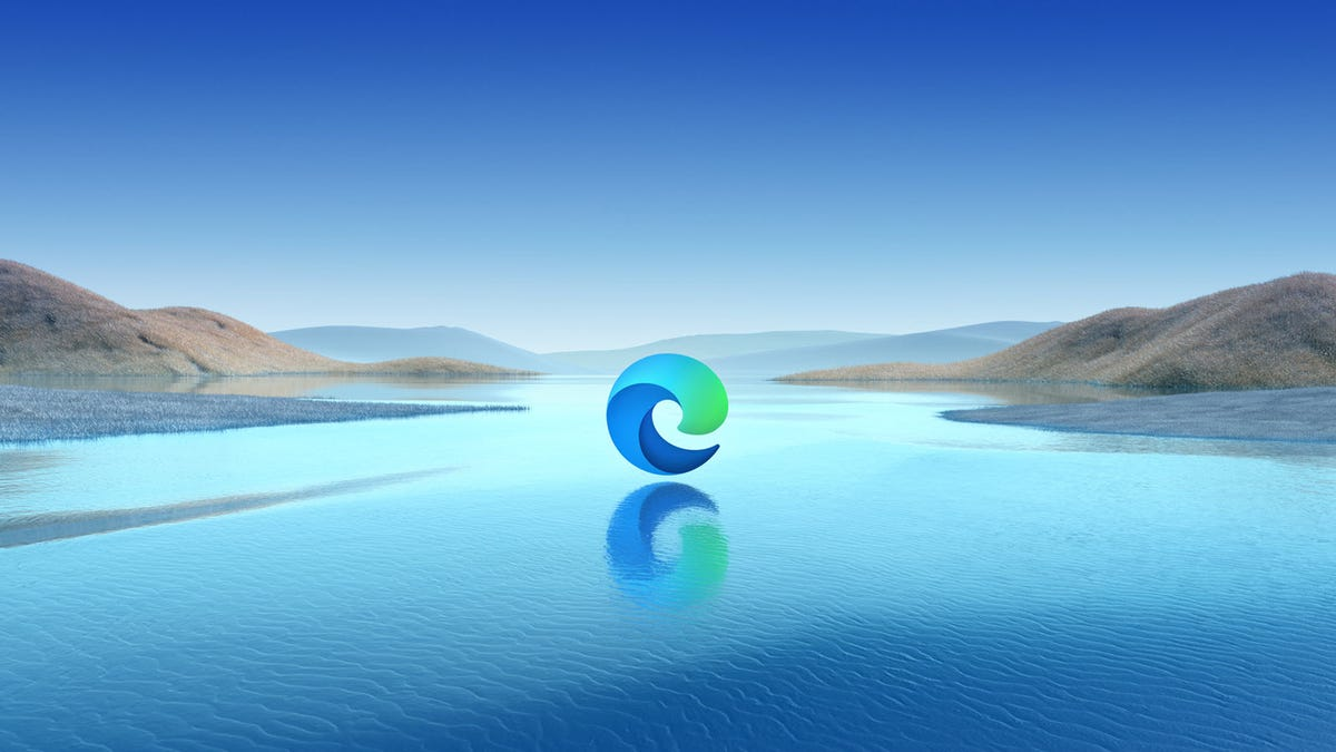The Microsoft Edge logo floating over a lake.