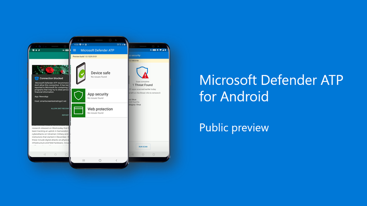 A banner announcing Microsoft Defender for Android