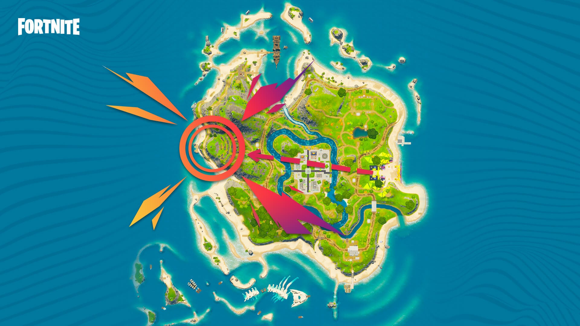 fortnite game map with directions