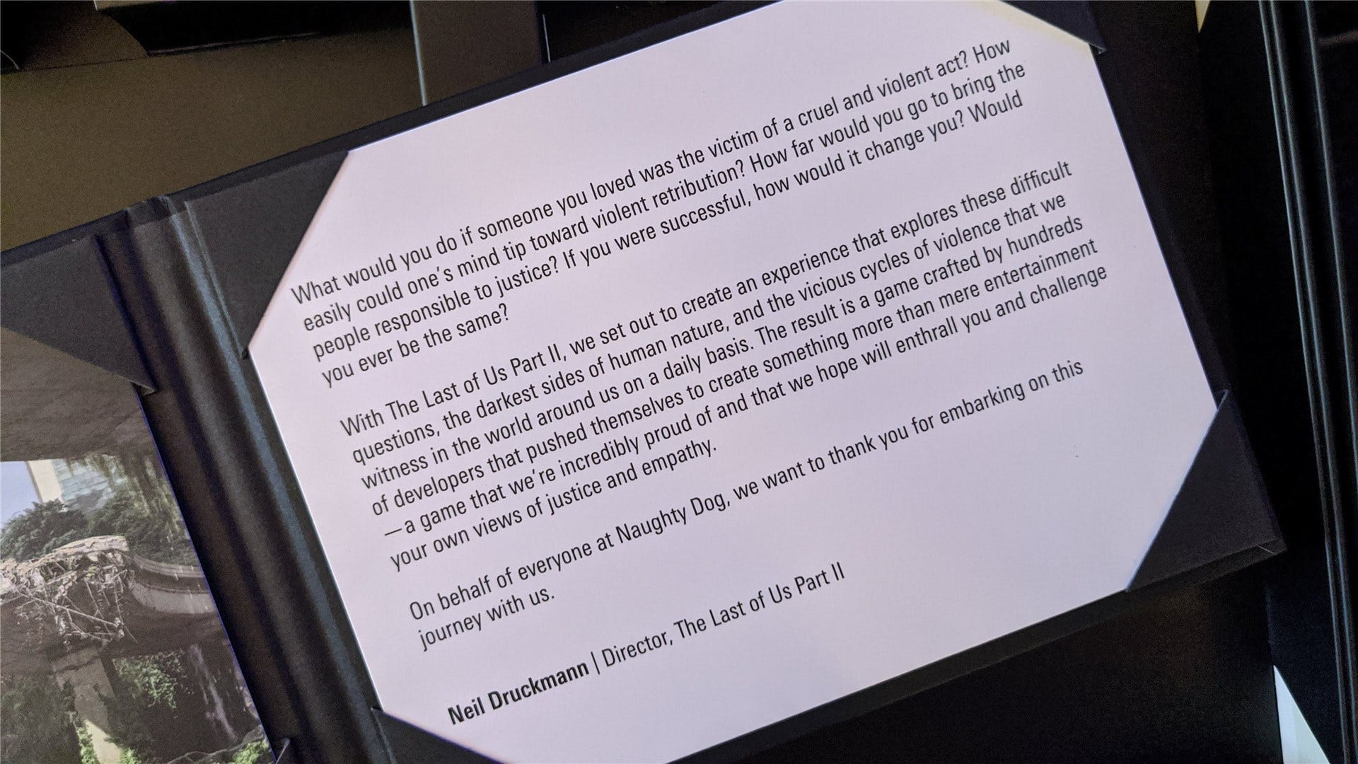 A close-up of the thank you letter, written by Naughty Dog director Neil Druckman