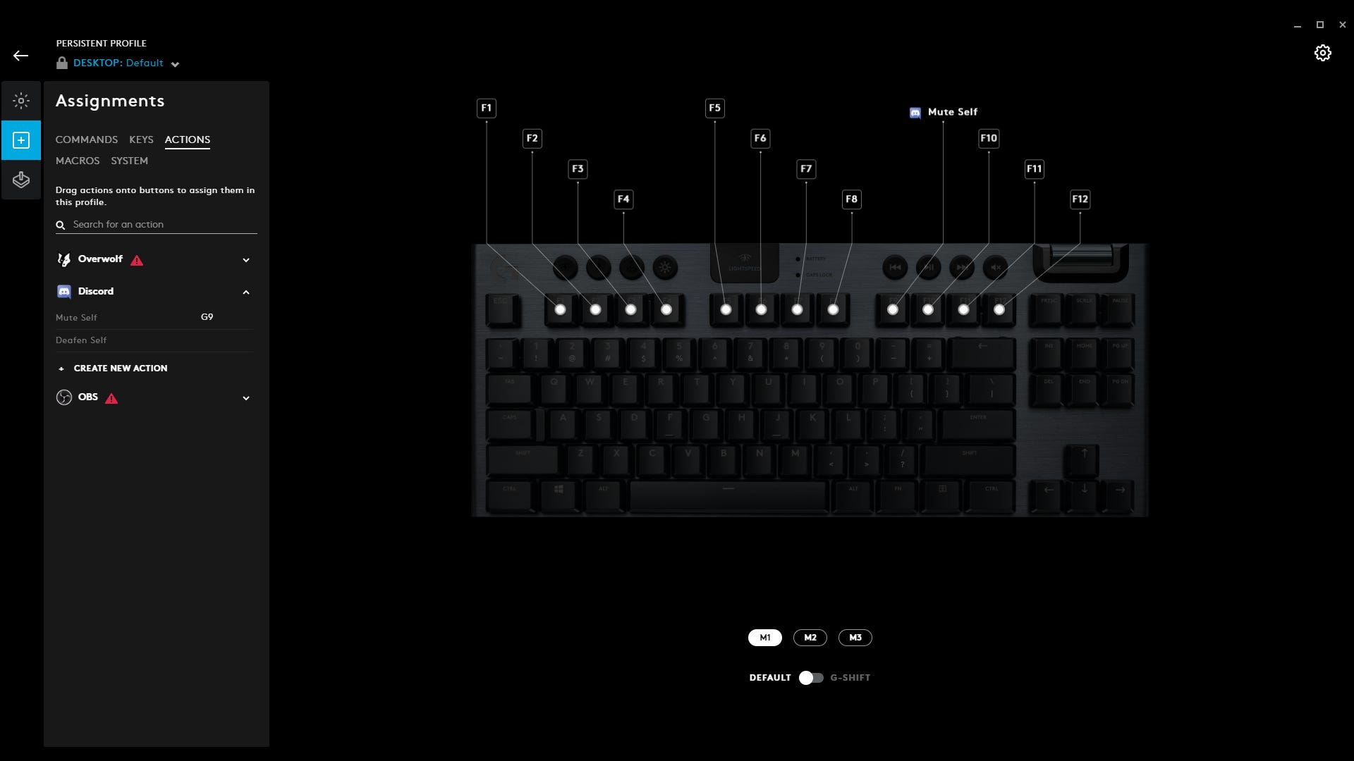 Key reprogramming in Logitech G Hub