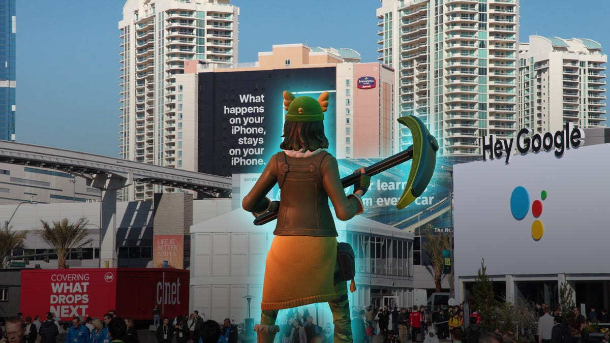 A Fortnite character in front of the Las Vegas Convention Center for CES