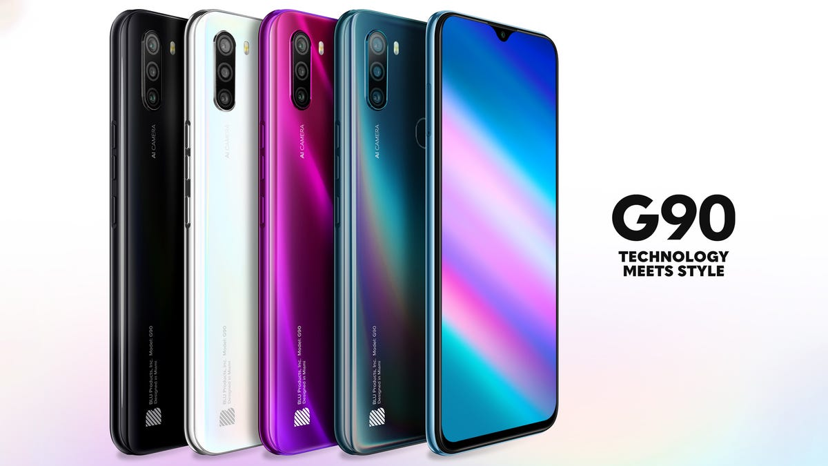 Blu G90 phone in four different colors