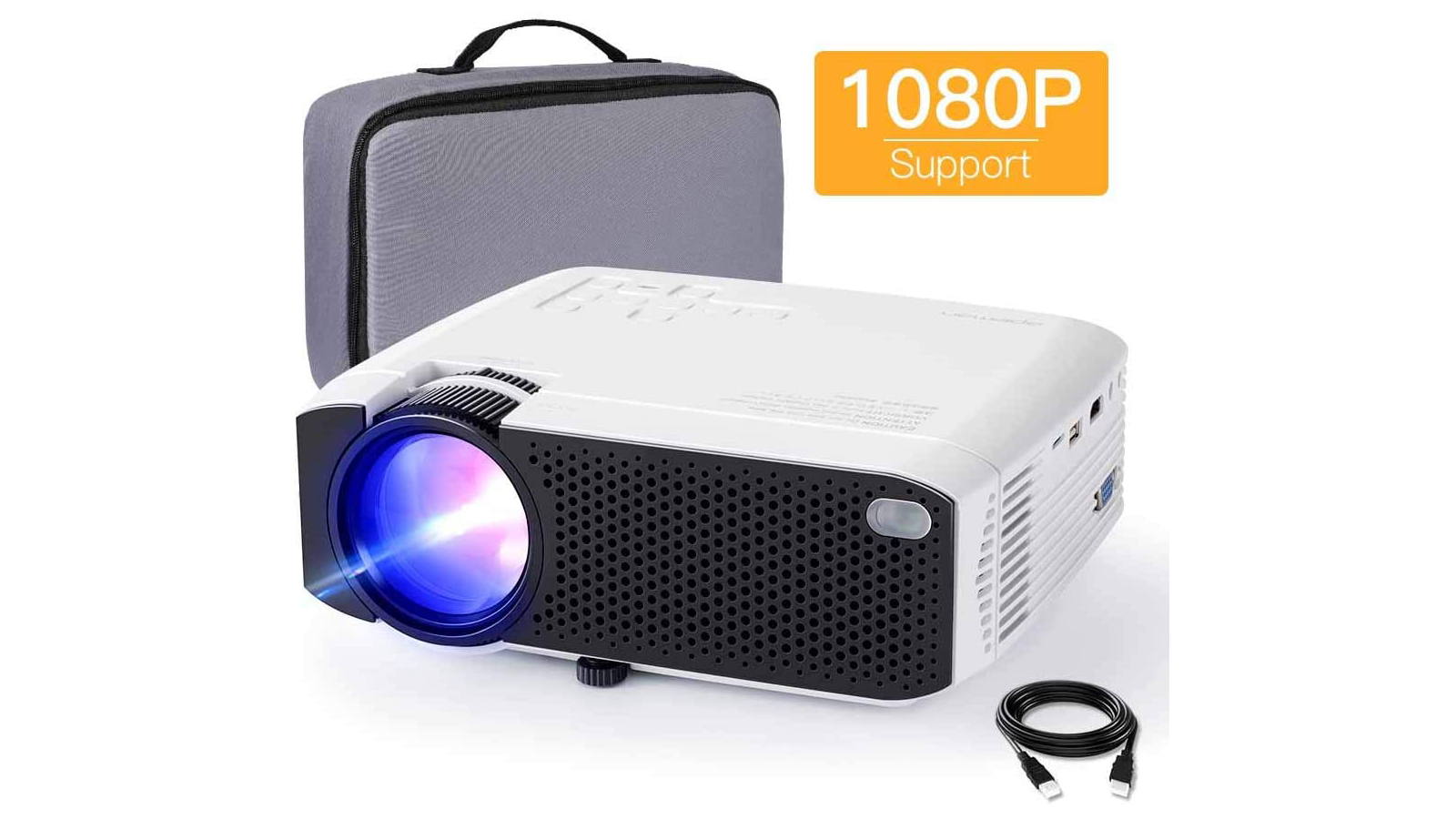 Apeman LC350 best portable mini projector for Father's Day 2020 4000 lumens 2000:1 contrast ratio 180 inches quiet fan dual speakers compatible with TV sticks TV boxes Google Chromecast gaming consoles HDMI VGA AV USB ports