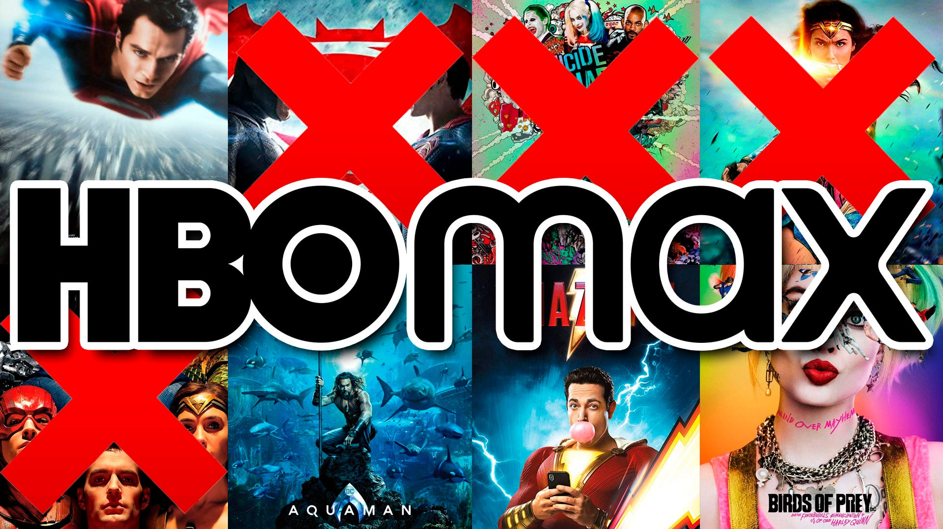 collage of DC Comics movies, with HBO Max logo.