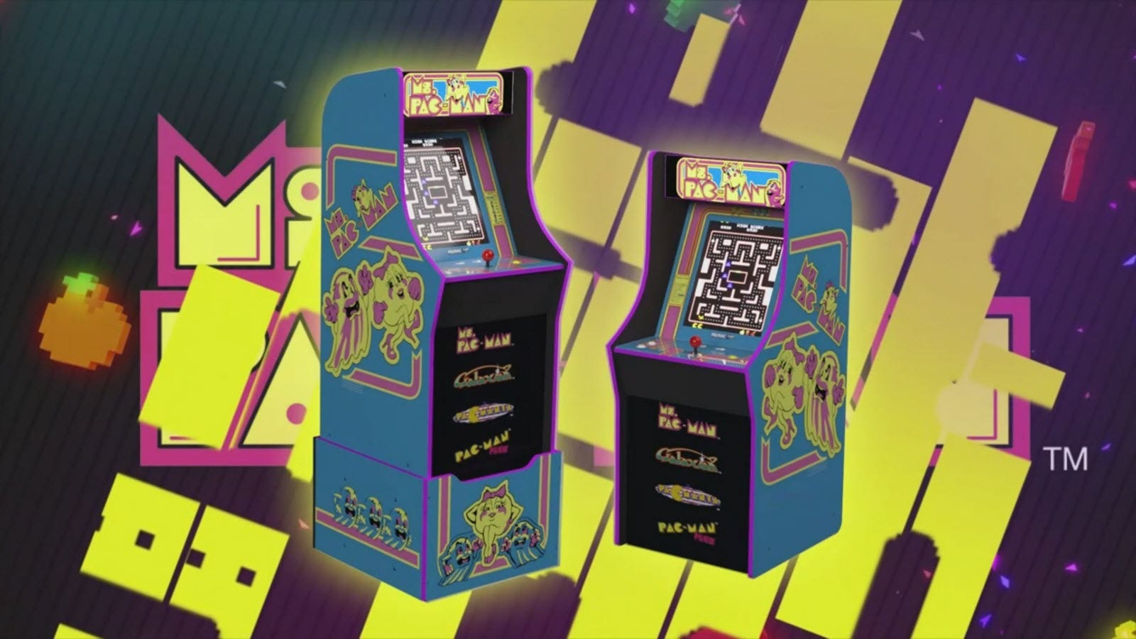 The MS. Pac-Man Arcade1Up machine on and off the riser.