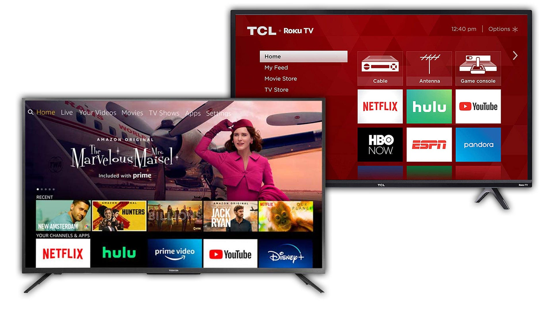 TCL Roku TV and Toshiba Amazon Fire TV