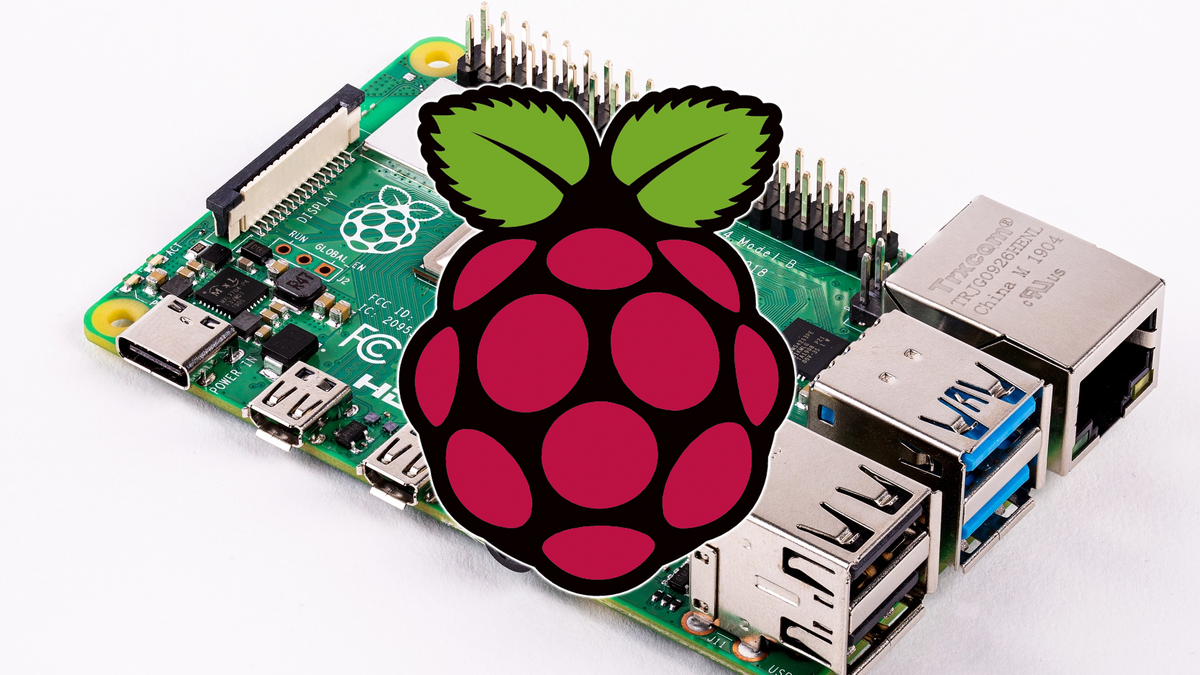 A photo of a Pi 4 board with the Pi Foundation logo.