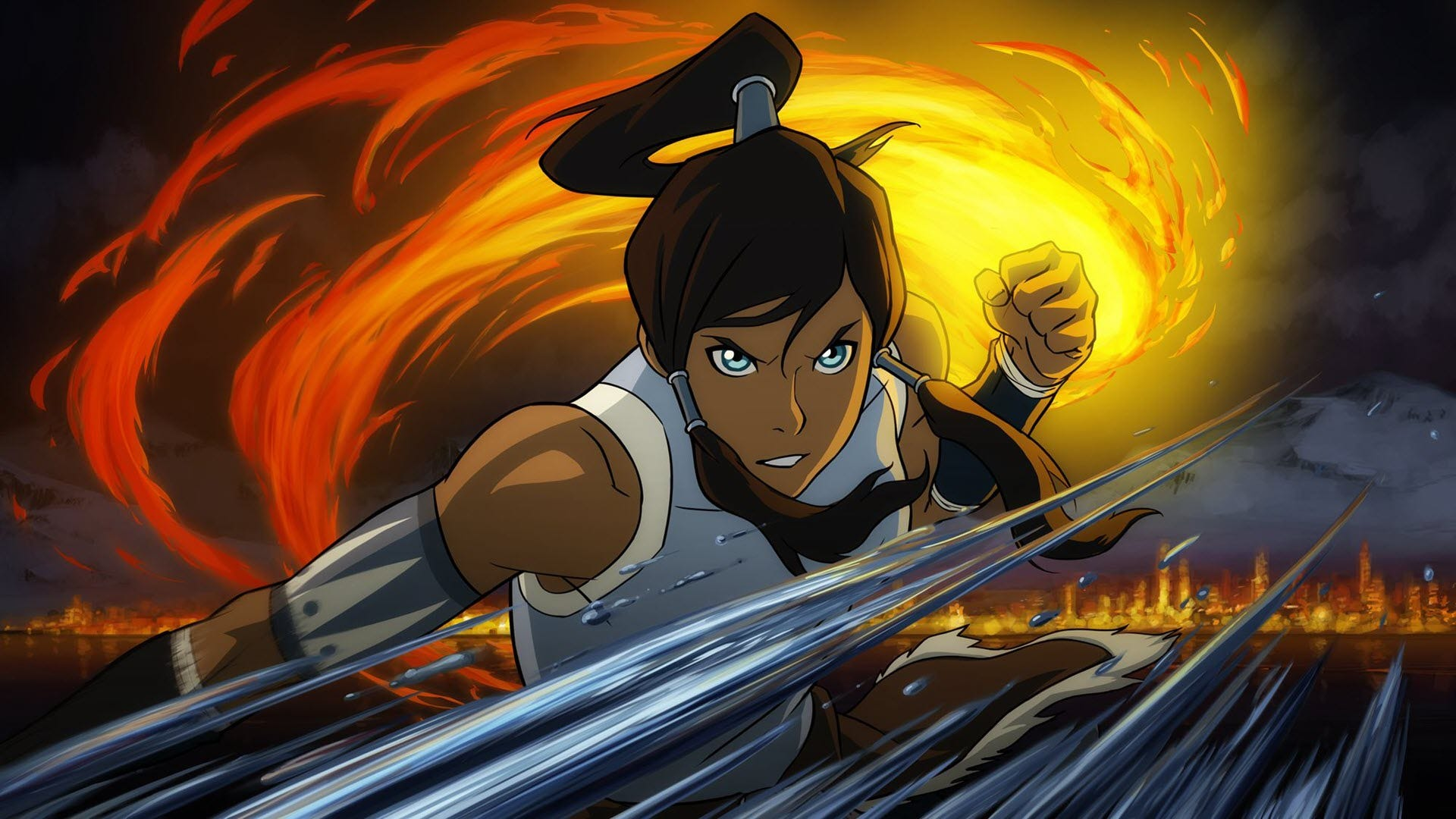 "Korra from 'Legend of Korra"" bending fire and water."