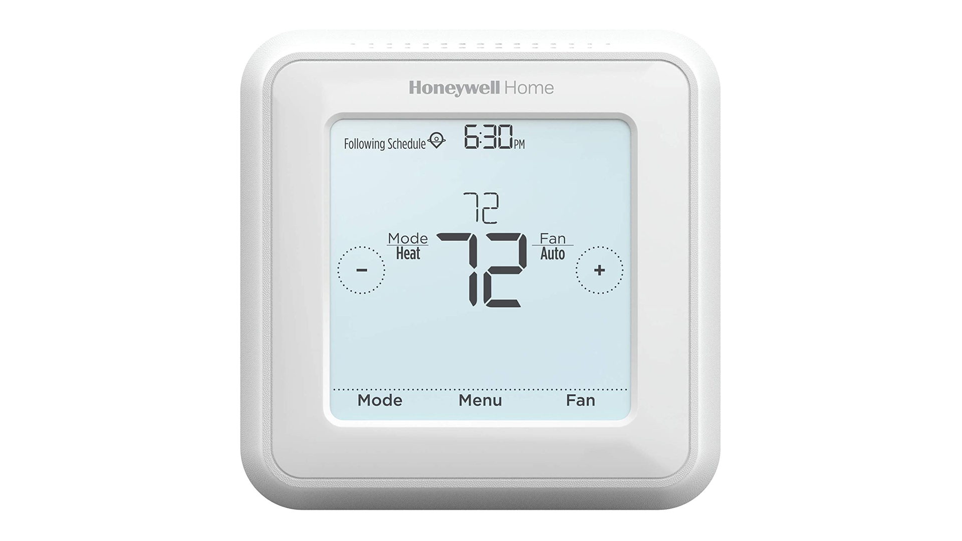 A photo of the Honeywell 7-day touchscreen thermostat.