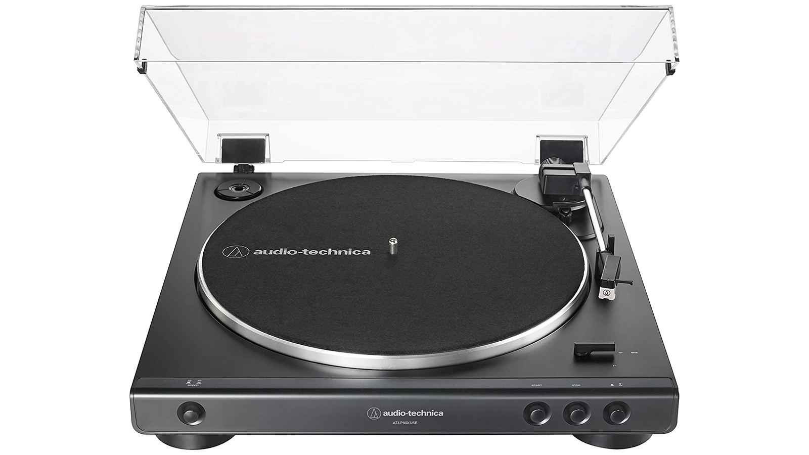 The Audio-Technica LP60X budget-friendly turntable for beginners, with attached dust cover