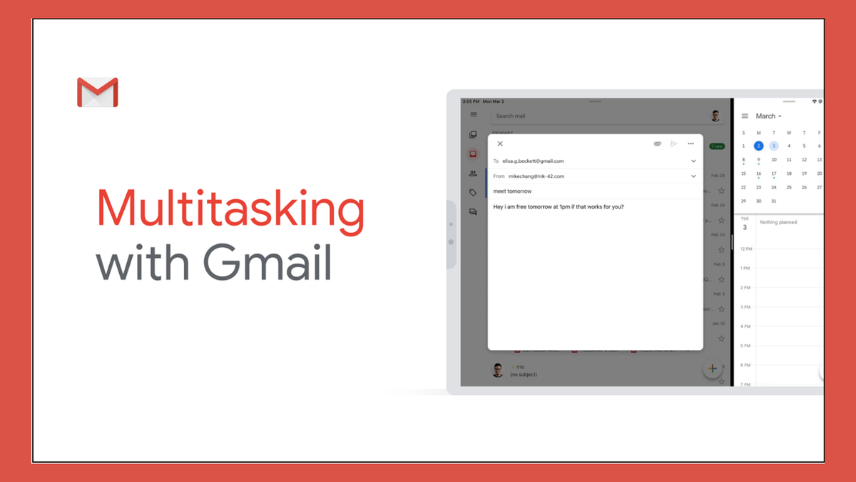 An illustration of Multitasking with Gmail.