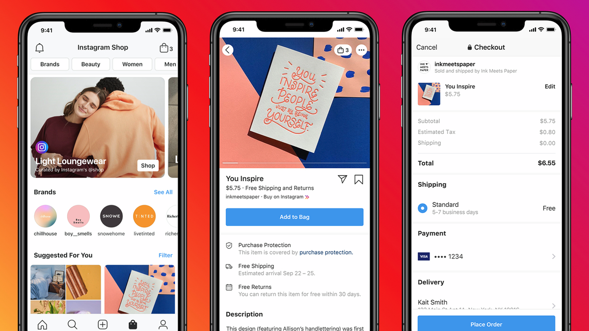 Illustrations of the new Instagram Shop.