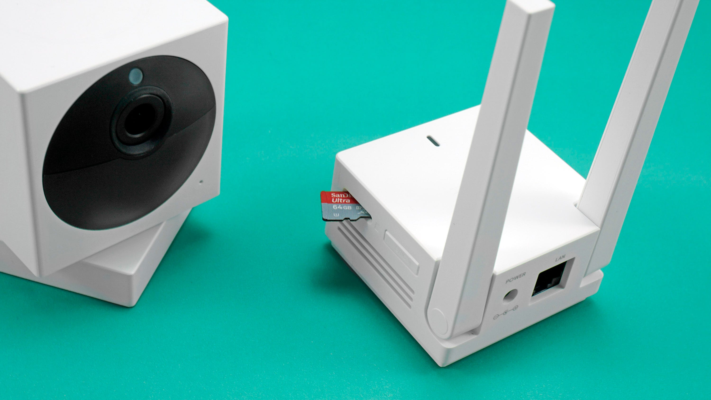 Wyze Cam Outdoor and base station with MicroSD card