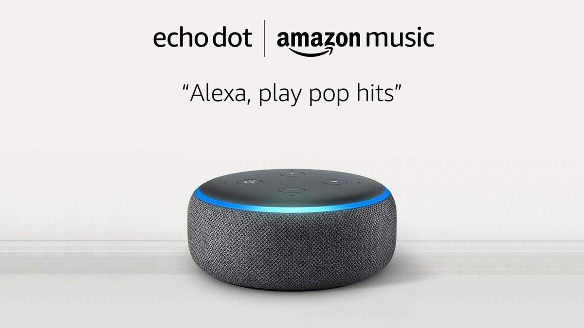 A photo of the Amazon Echo Dot.