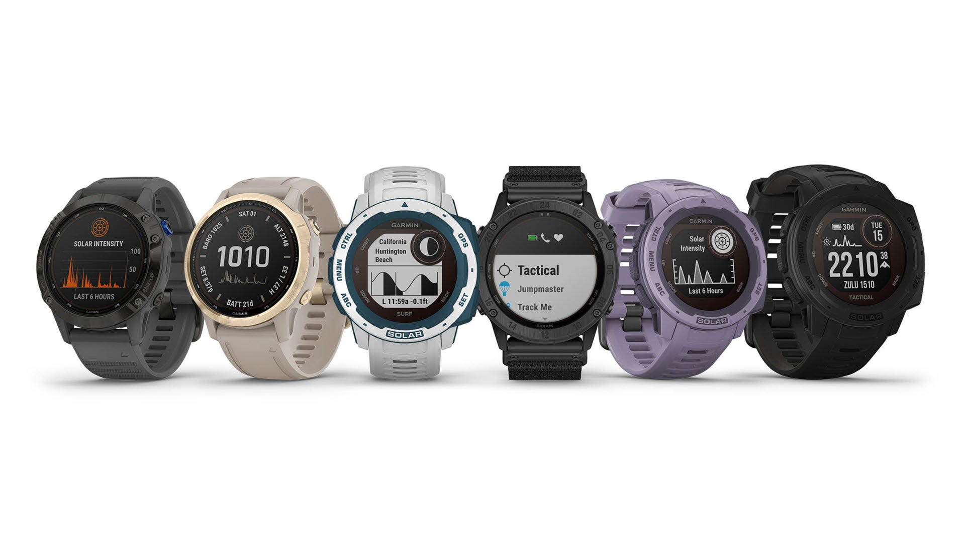 The entire Garmin solar powered smartwach lineup, side by side.