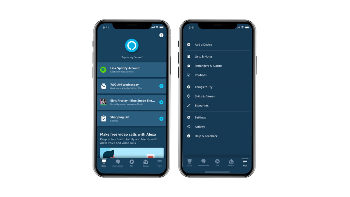A newly redesigne Alexa App with a big blue button near the top.