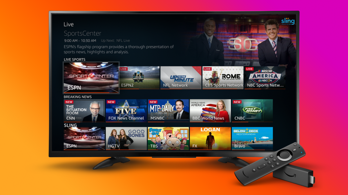 A Fire TV showing live content from multiple sources.