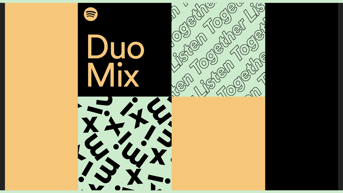 An illustration of the new Spotify Duo Mix playlist.