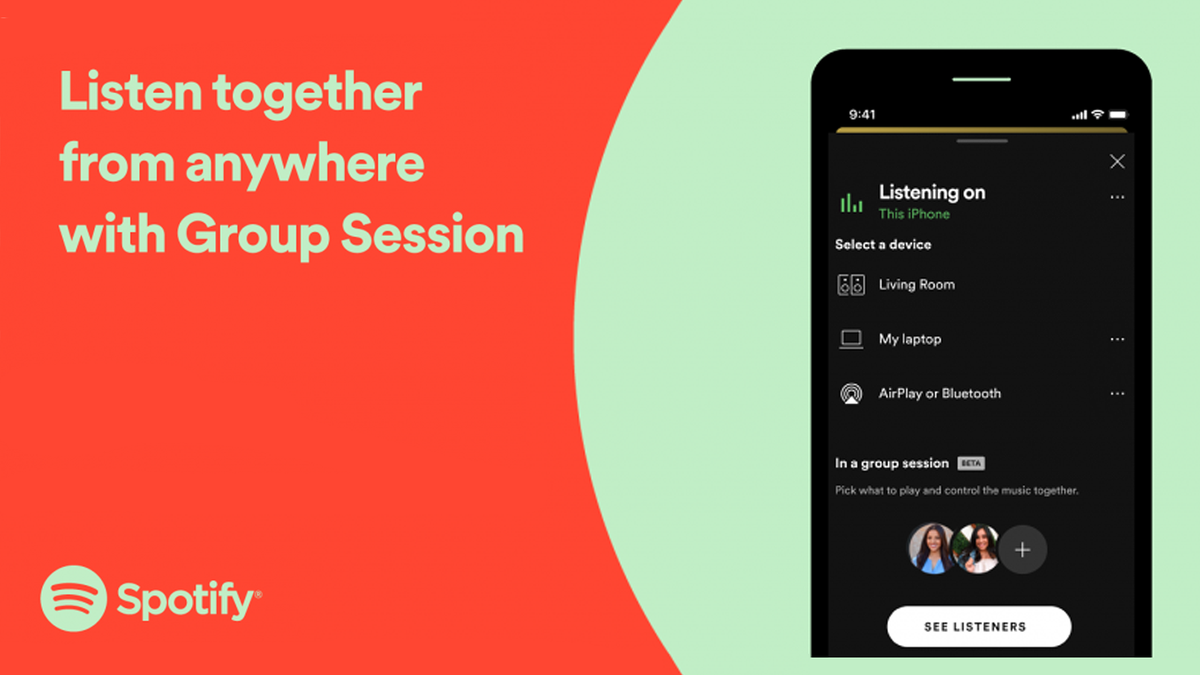 An illustration of Spotify's Group Session feature.