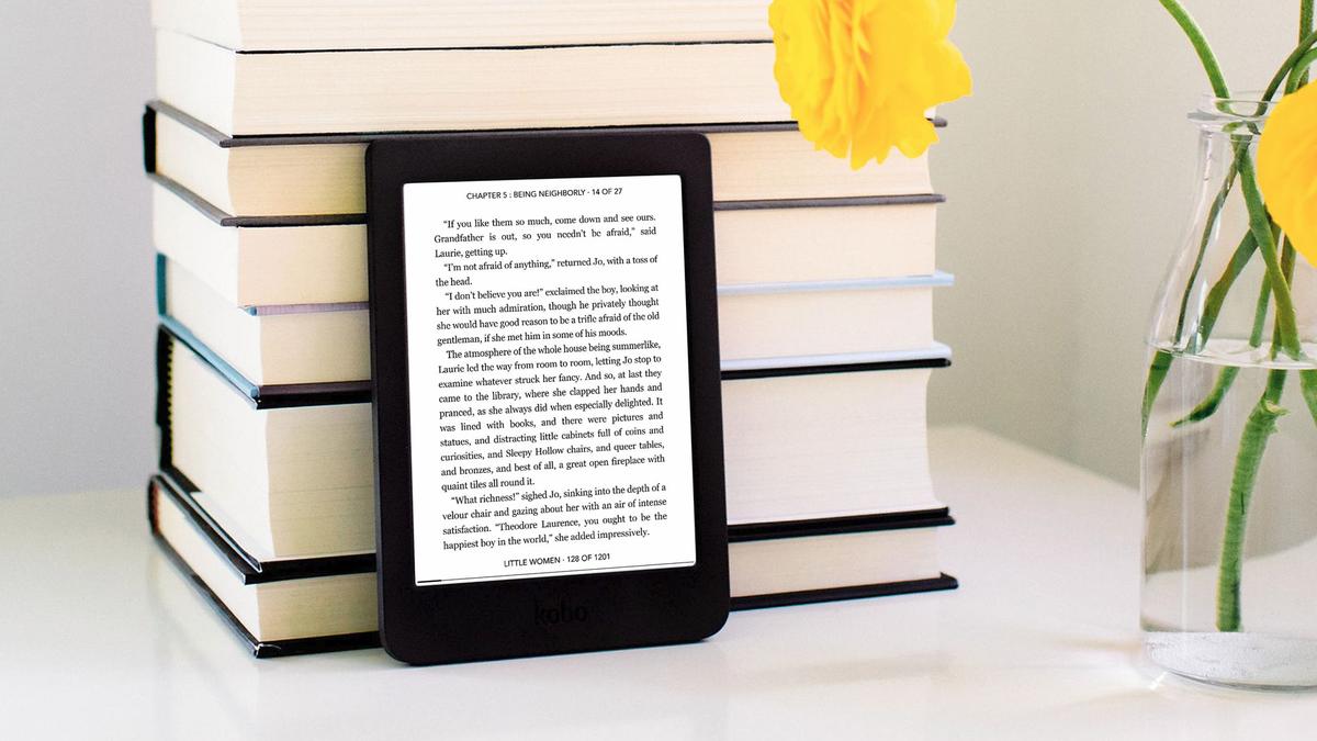 A photo of the Kobo e-reader on a desk.