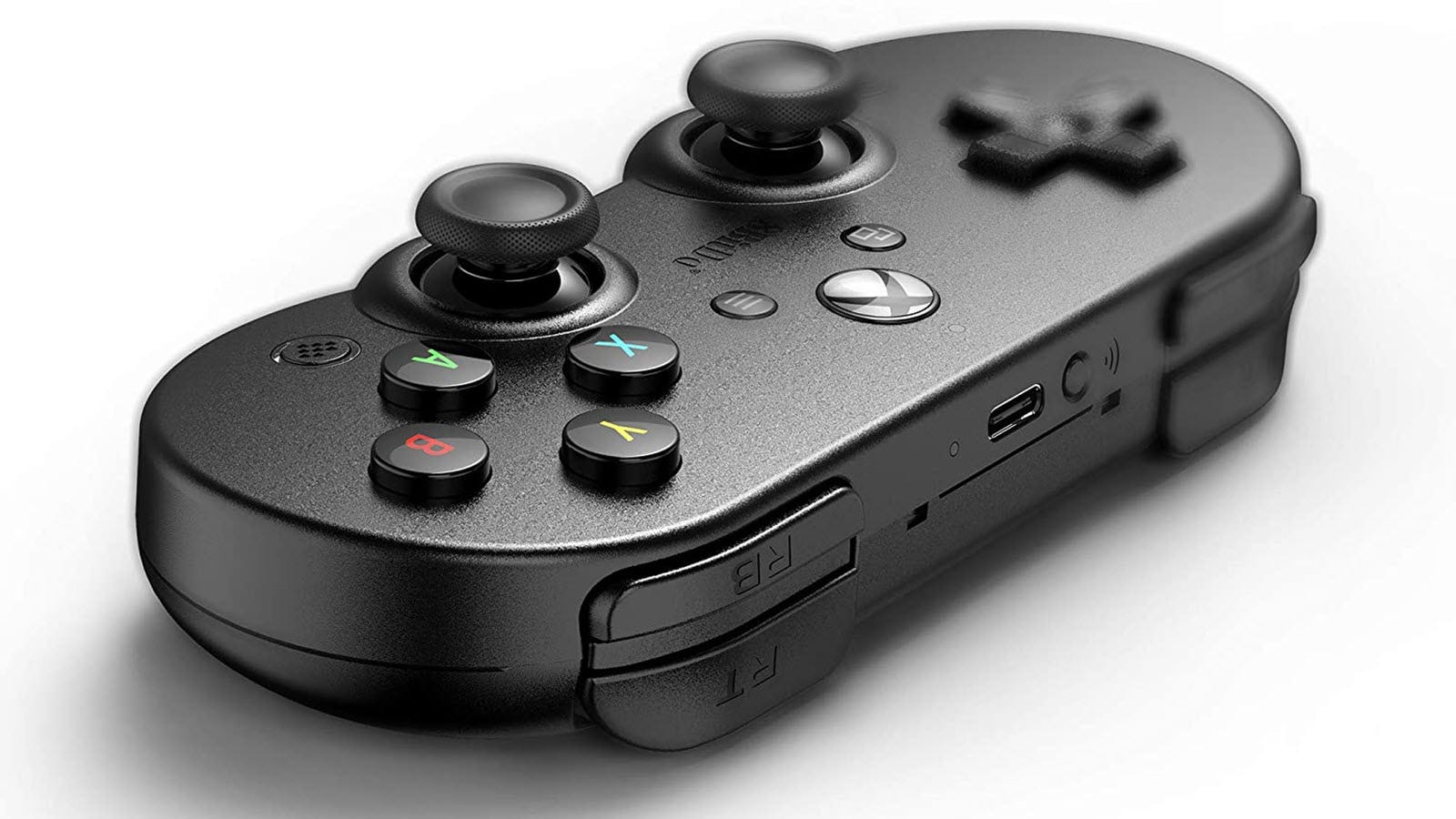 A closeup of the Sn30 Pro showing SNES controller like curves.