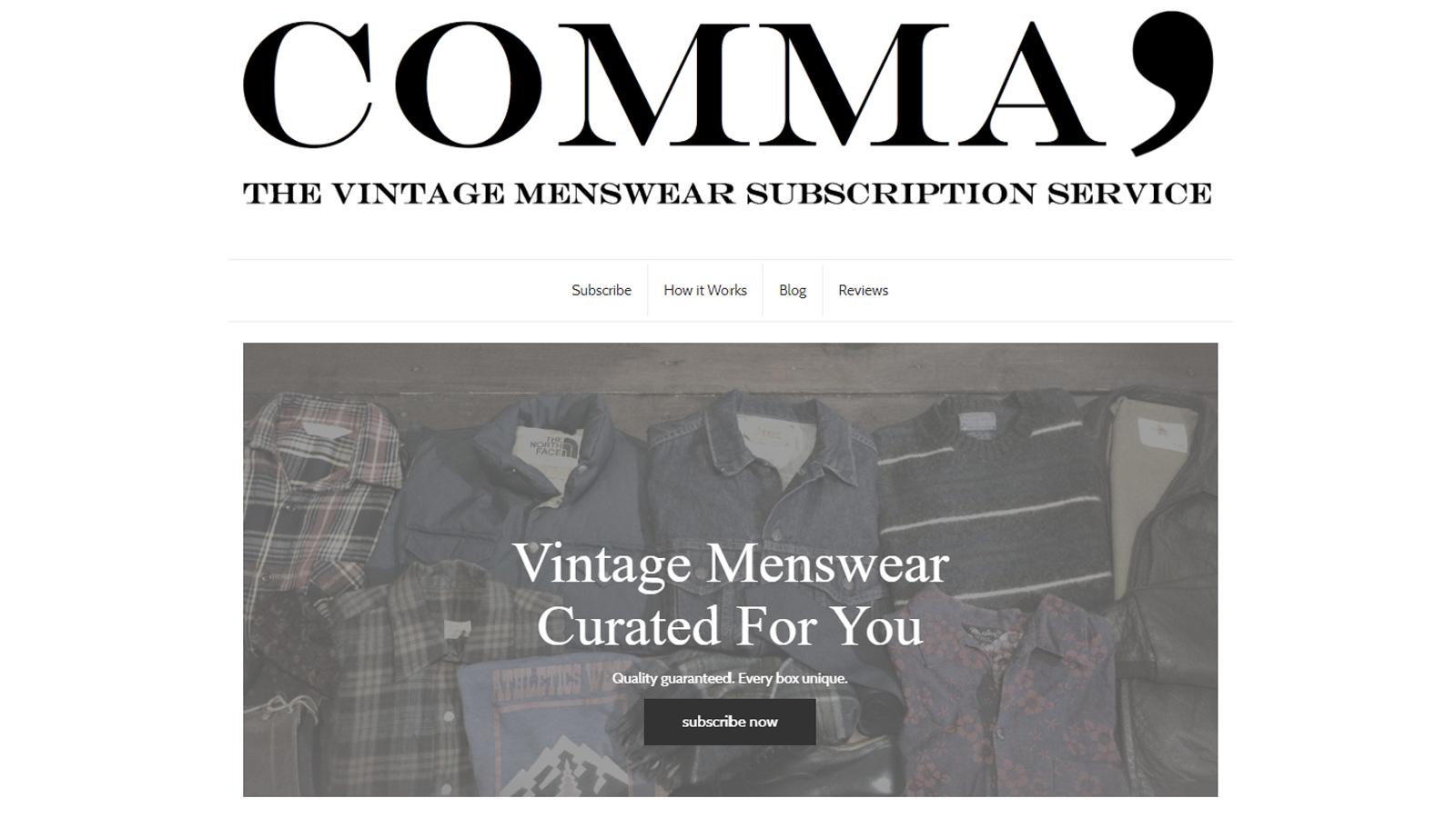 Comma best vintage menswear clothing subscription box unique authentic American vintage finds