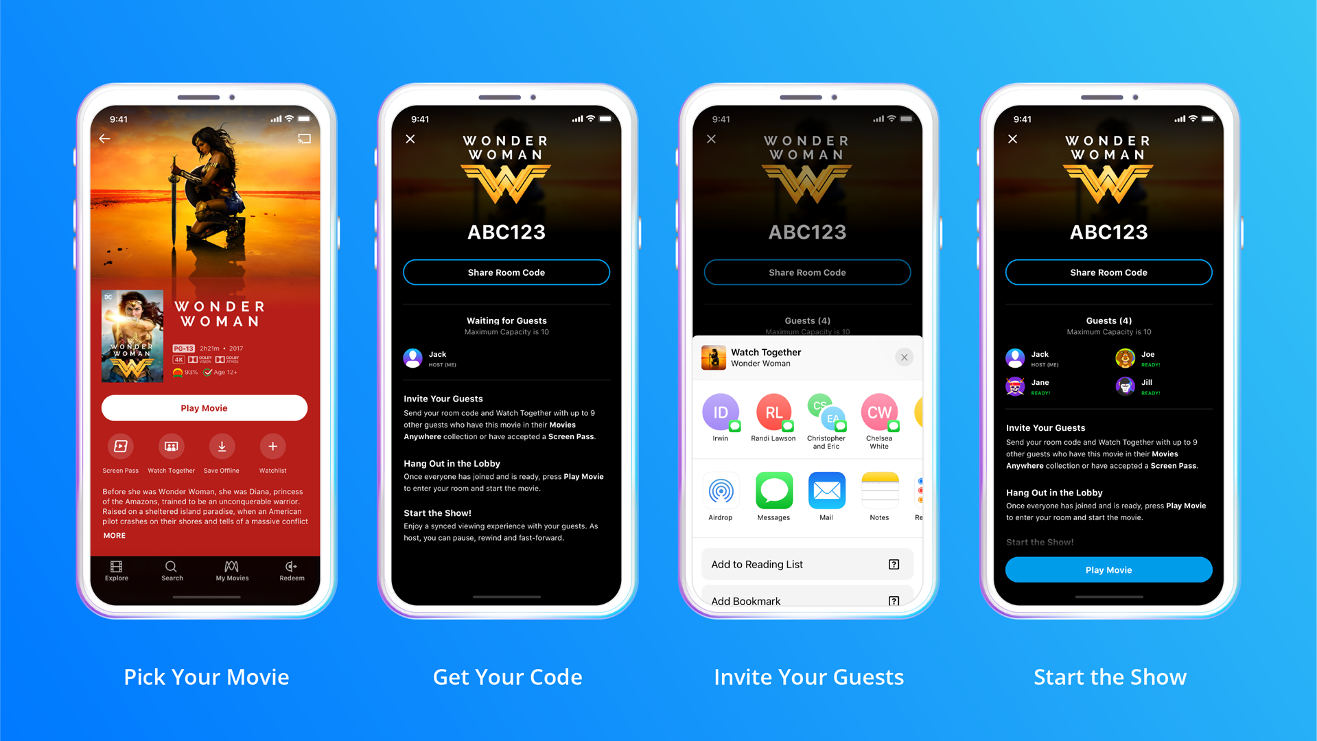 Four phones showing the process to share a movie, includign sharing a code over email.
