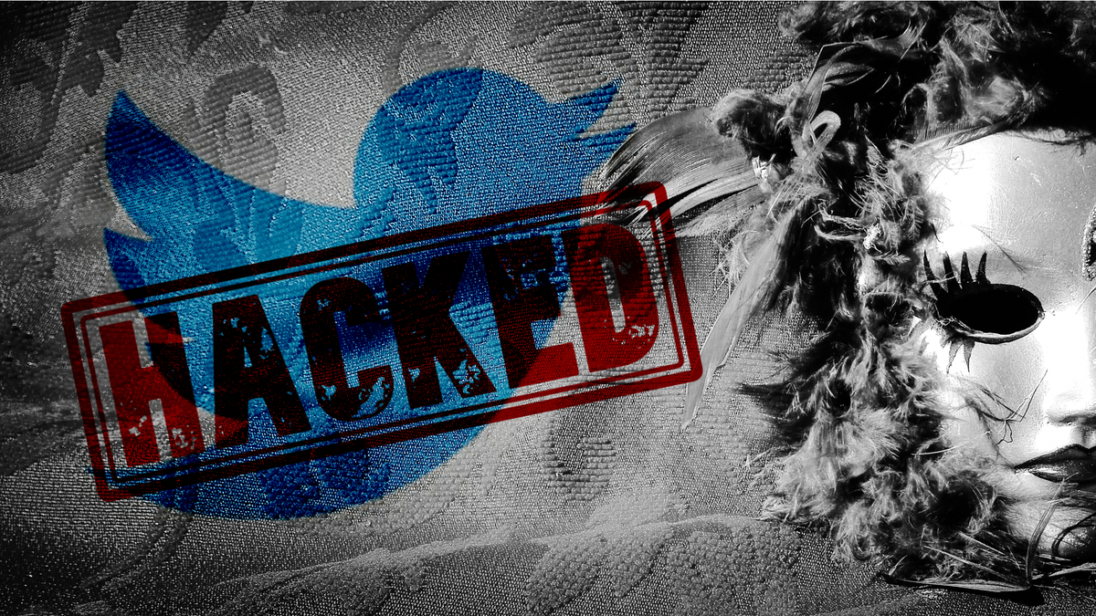 """The Twitter logo with a """"Hacked"""" stamp over it and an anonymous mask."""
