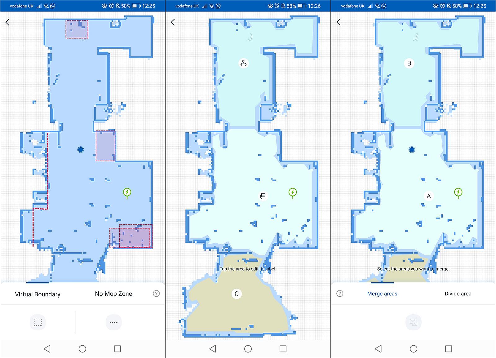 ecovacs deebot map edit screen options