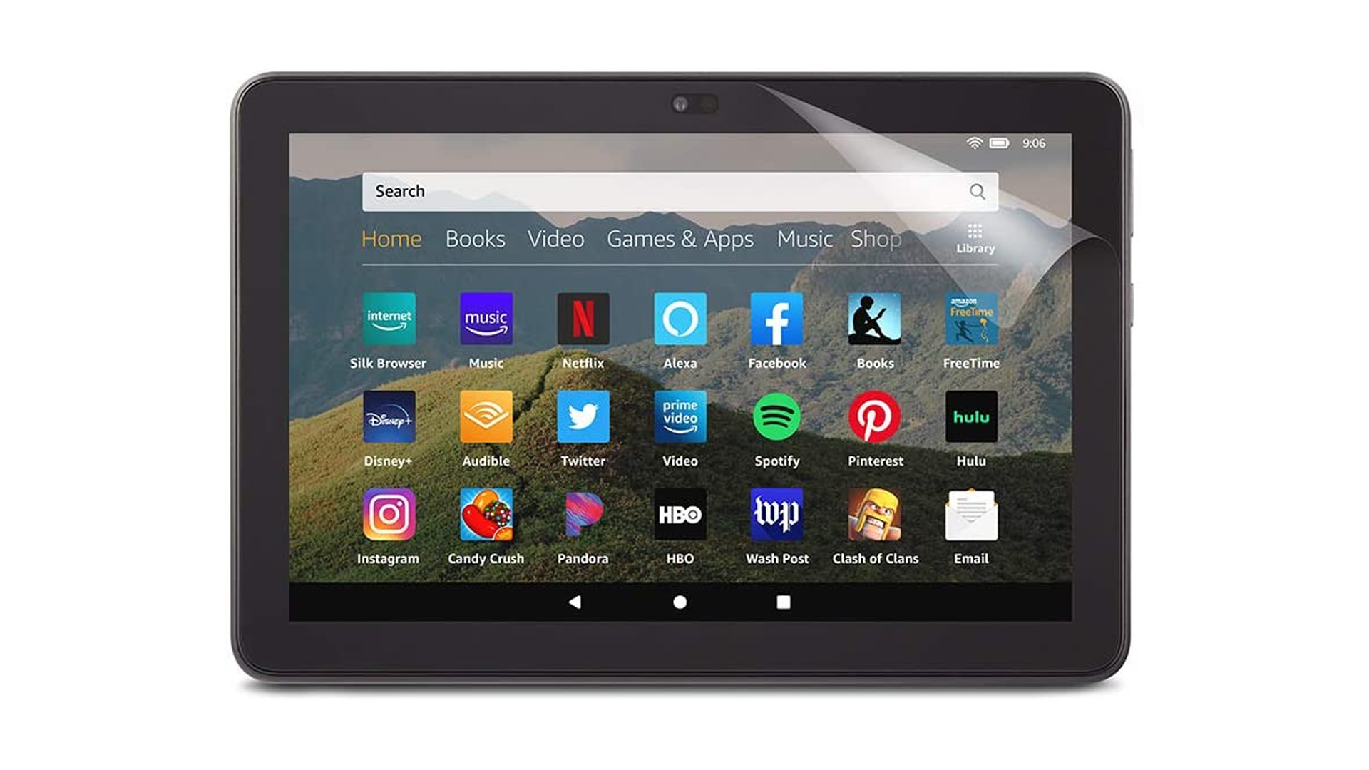 A Fire HD 10 with a screen protector.
