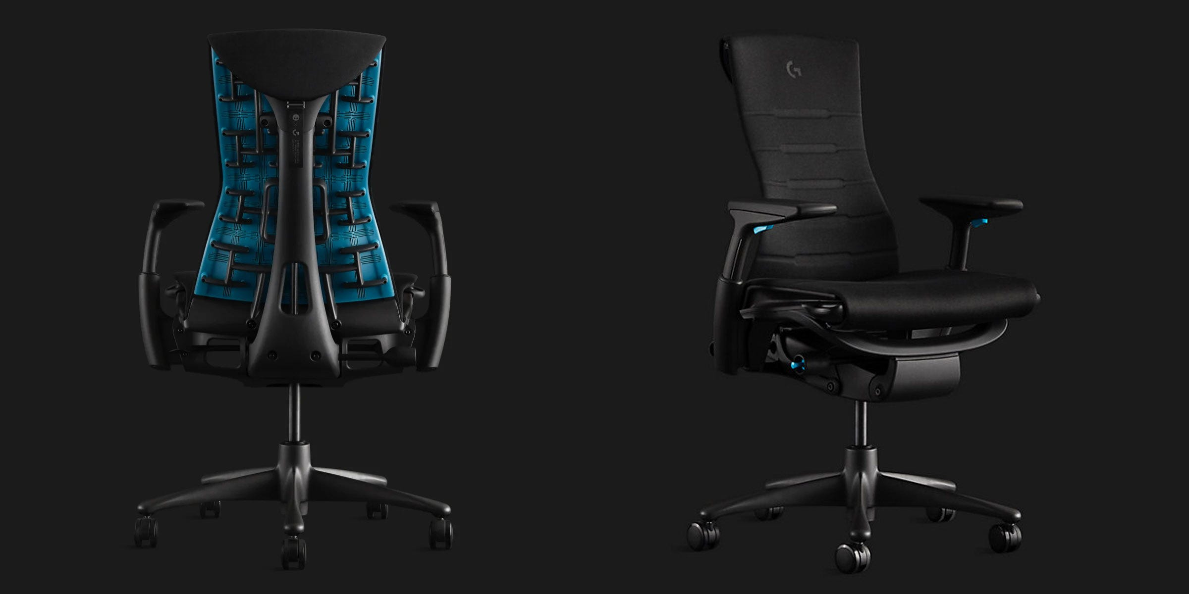 Herman Miller and Logitech Embody chair, from the front and back