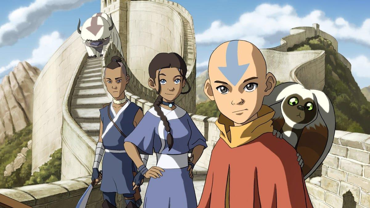 """Aang, Kitara, Sokka, Momo, and Appa, from 'Avatar: The Last Airbender"""""""