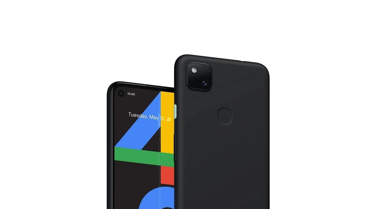 A render of the Pixel 4a, showing the date of May 12.
