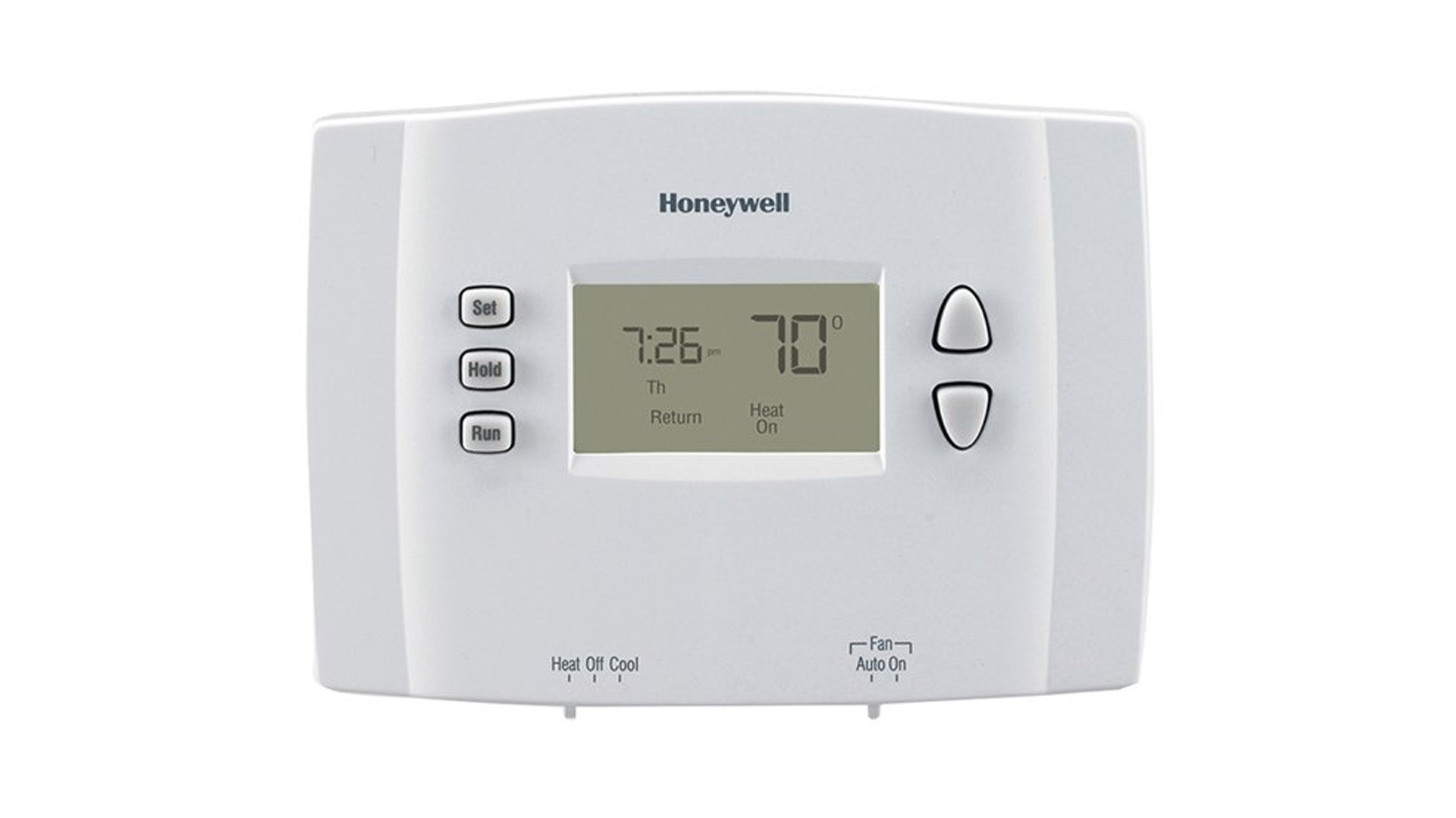 A photo of the Honeywell 1-day programmable thermostat.
