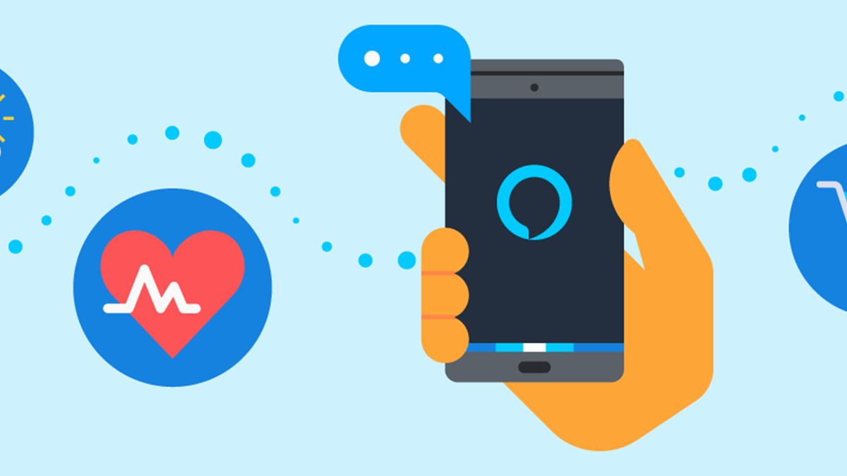 An Android phone controlling apps through Alexa.