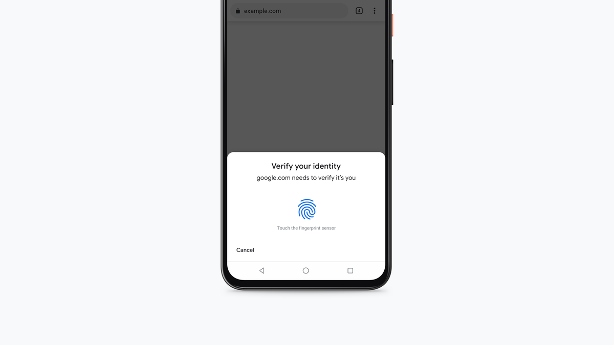 An Android phone asking for fingeprint authentication.