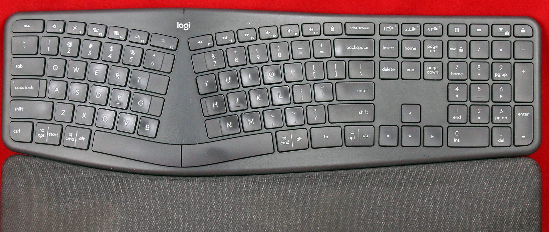 A closeup of the ERGO K860 showing alt and cmd keys.