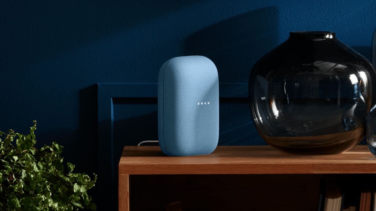 The new Nest Speaker on a night stand.