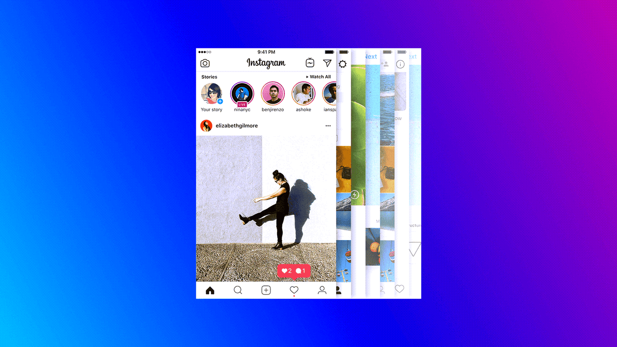 The Instagram app on an Android phone