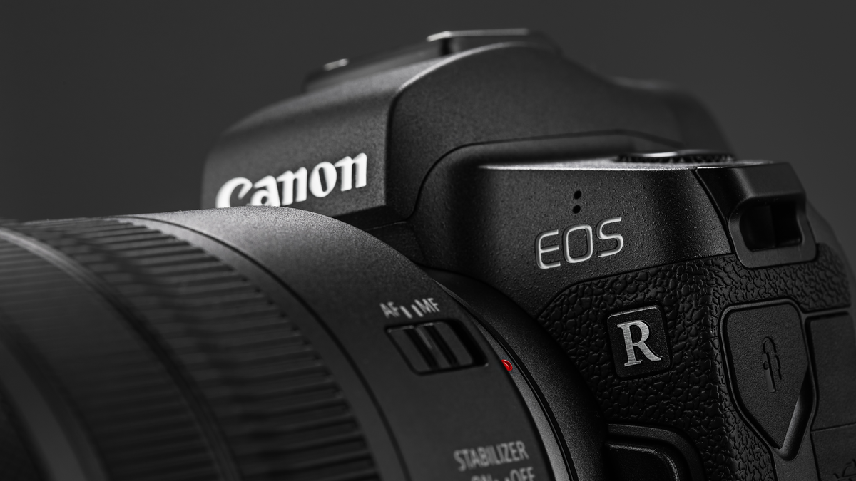 Image of Canon EOS R Mirrorless Digital Camera with Canon EF 24-105mm f4L IS USM lens on a black background.