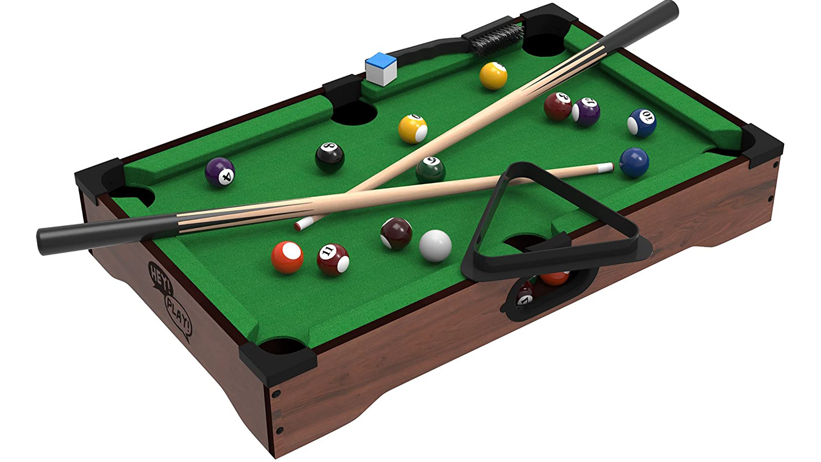 Mini Desktop Game of billiards complete with cue sticks, balls, chalk, and a triangle rack