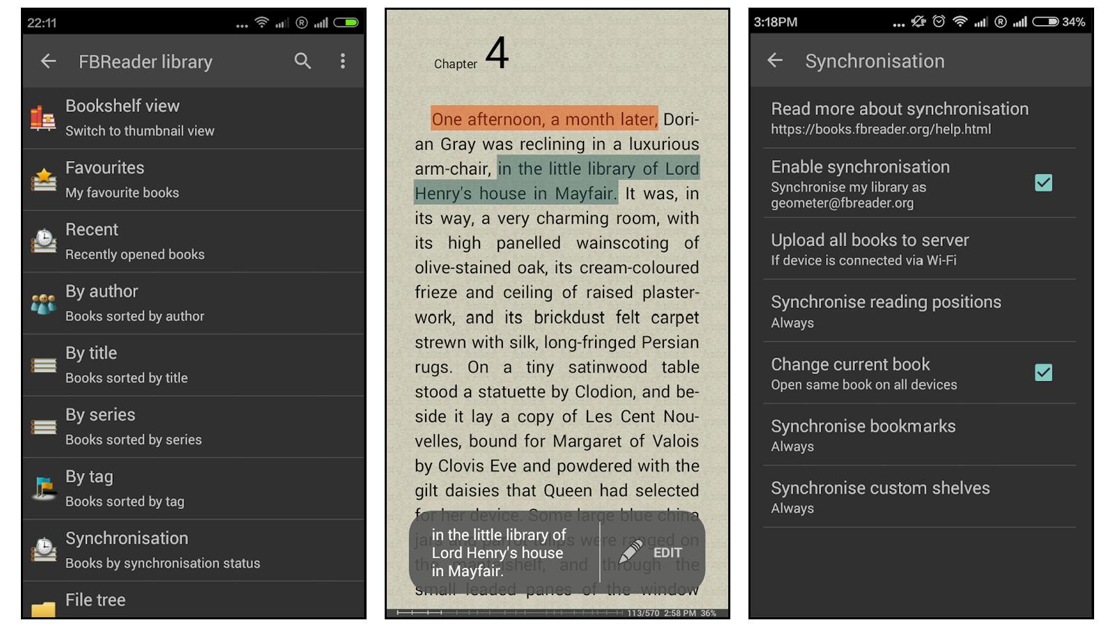 FBReader best book reading app for uploading your own books