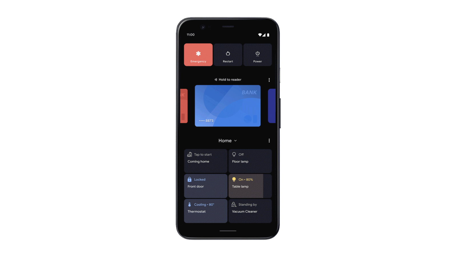 An Android phone with smart home controls.