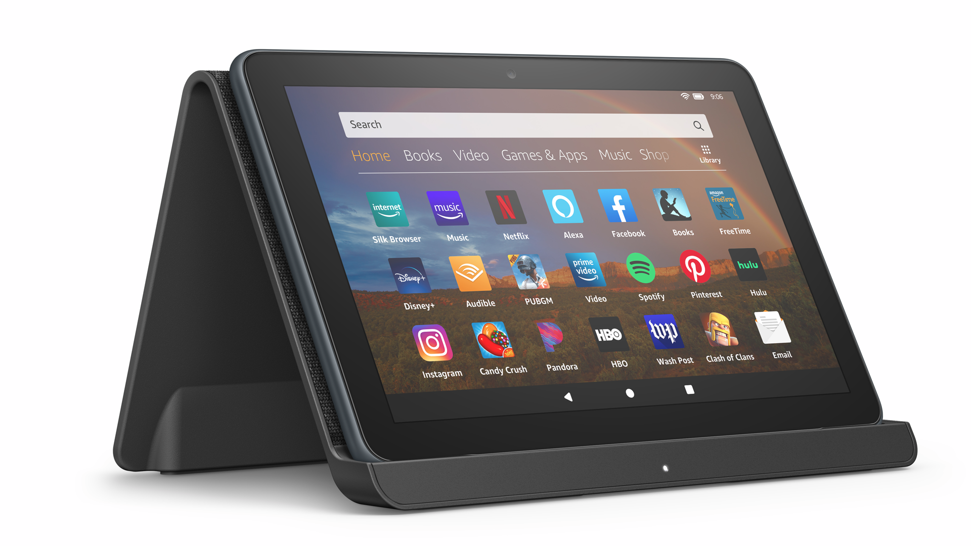 The Fire HD 8 Plus on an Echo Show stand.
