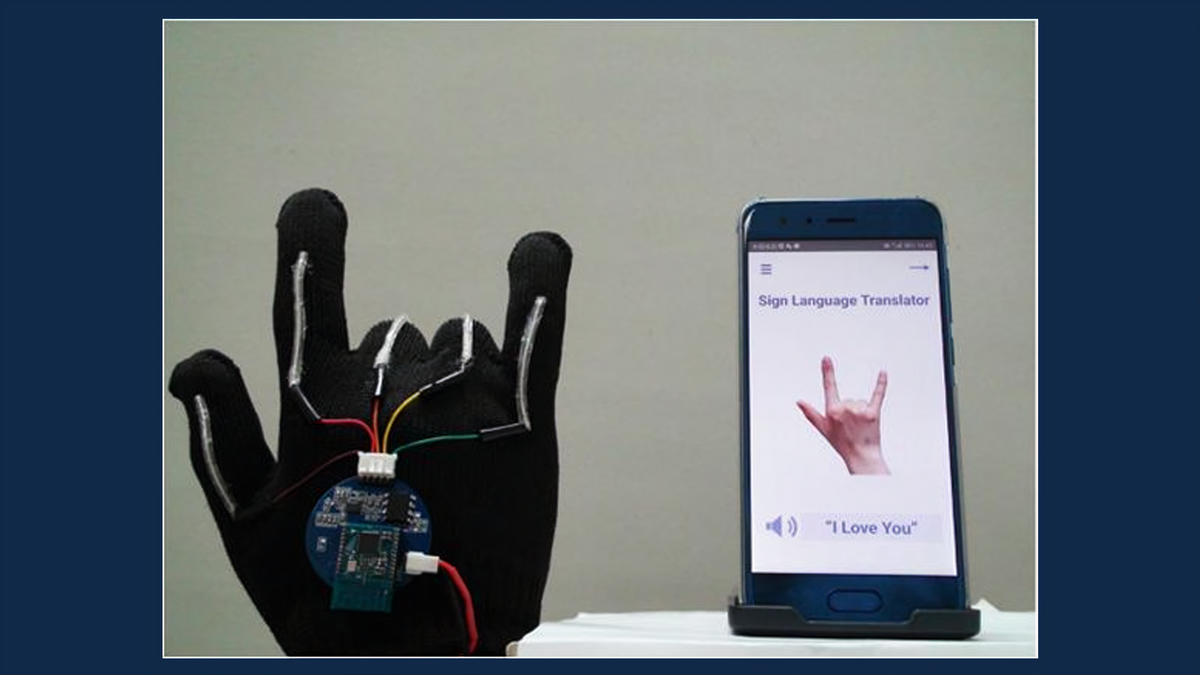 A photo of the ASL glove in action.