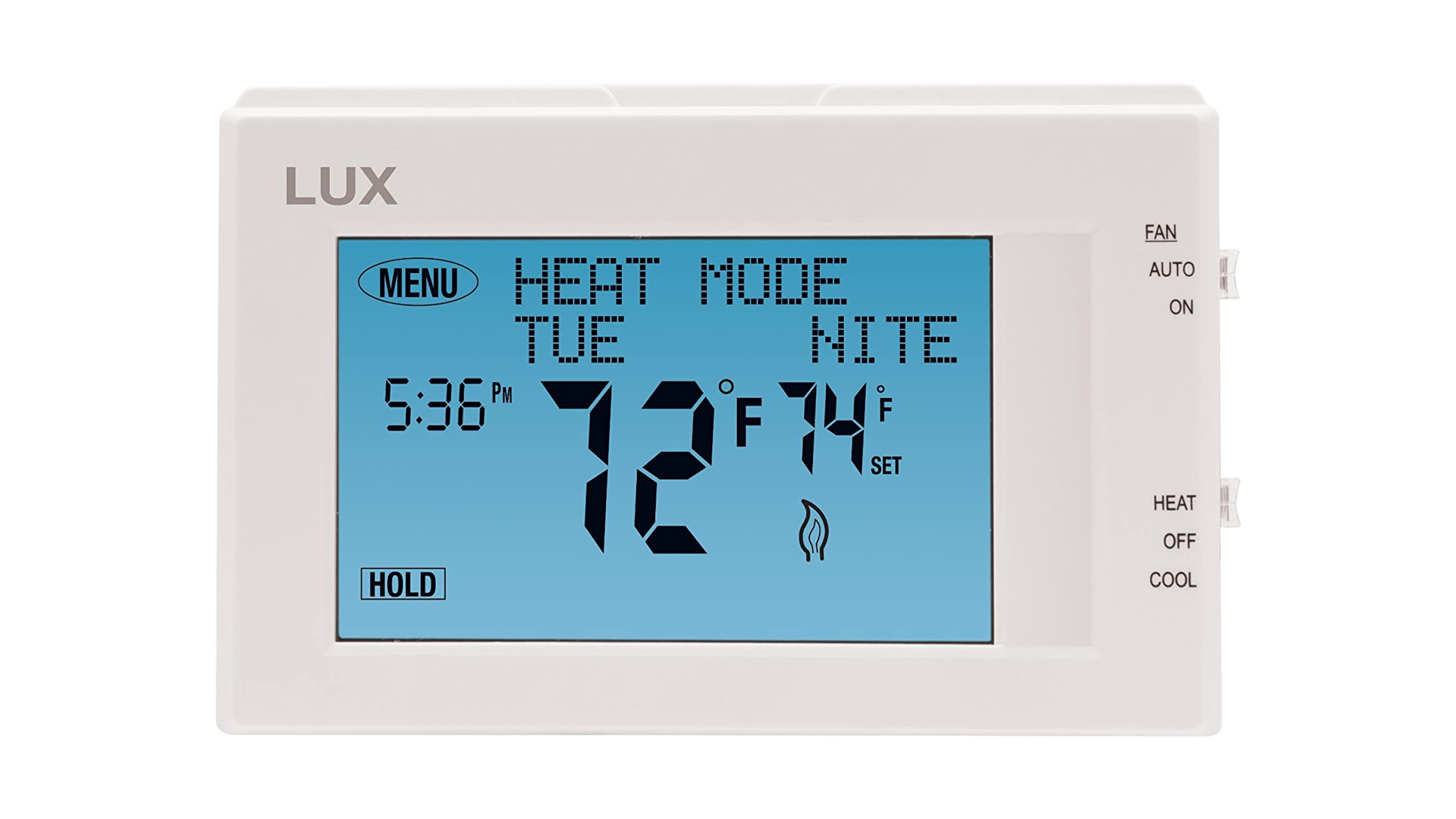 A photo of the Lux 7-day touchscreen thermostat.
