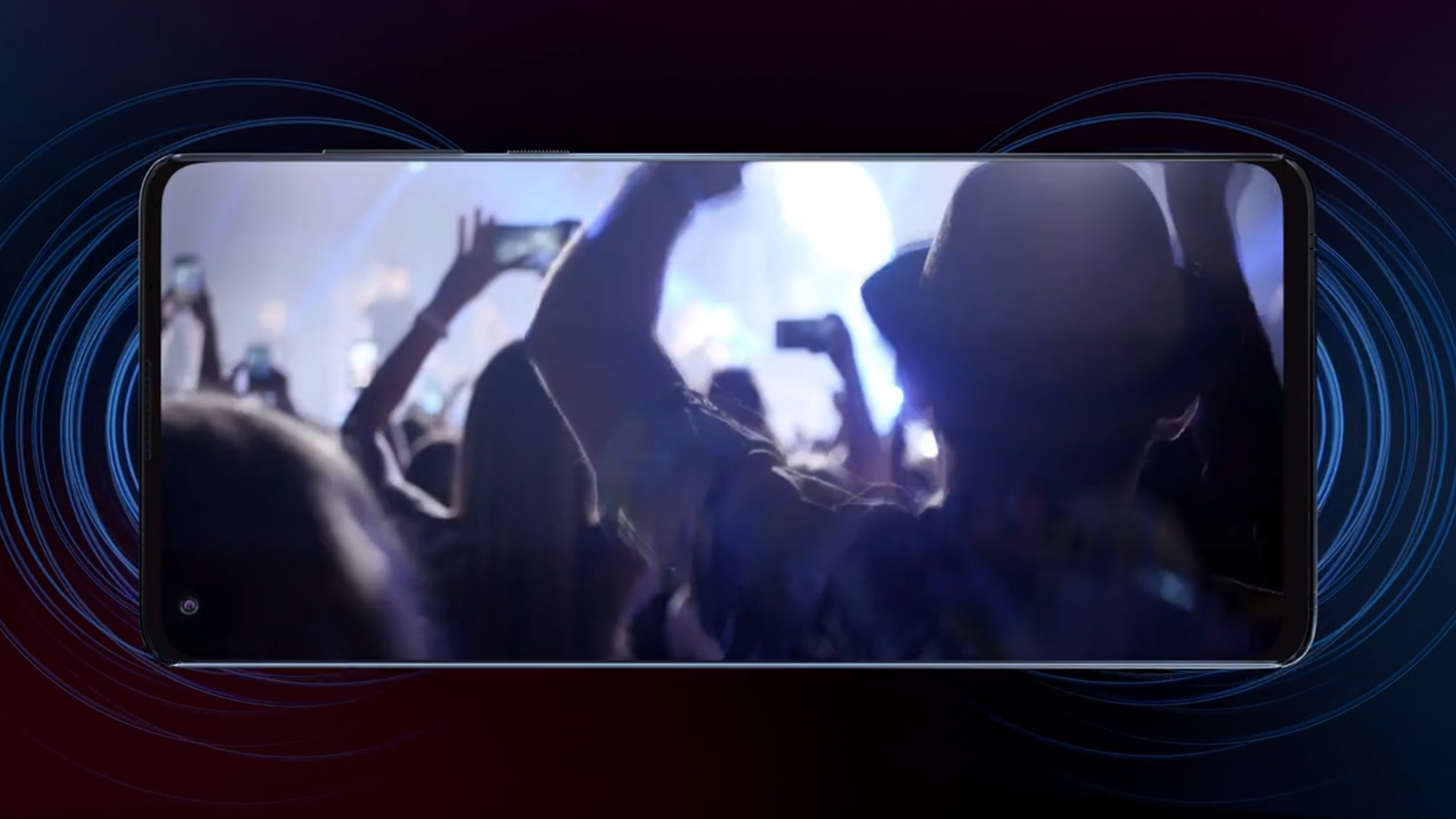 A live concert audience being filmed on the Motorola Edge.
